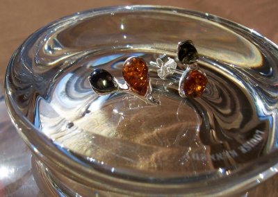 Amber Silver Earrings to stick ES1016