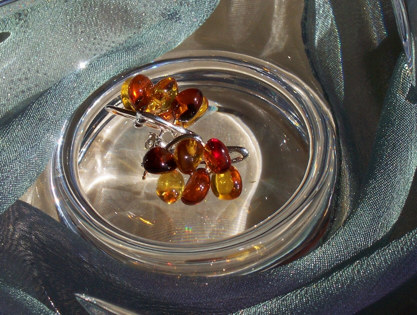Amber Silver Earrings to stick ES1019