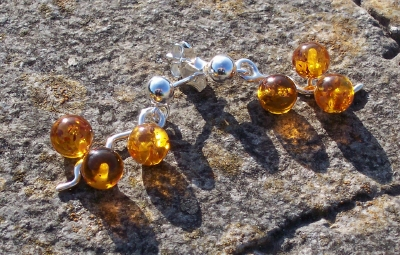 Amber Silver Earrings to stick ES1021