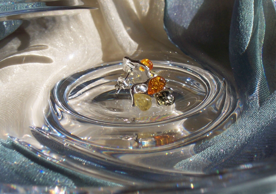 Amber Silver Earrings to stick ES1042
