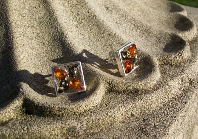 Amber Silver Earrings to stick ES2077