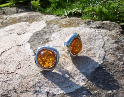 Amber Silver Earrings to stick ES3026