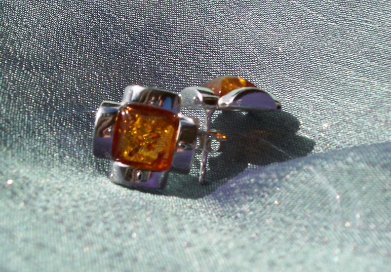 Amber Silver Earrings to stick ES6220
