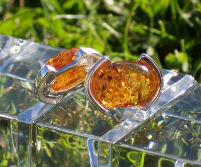 Amber Silver Earrings to stick ES6264