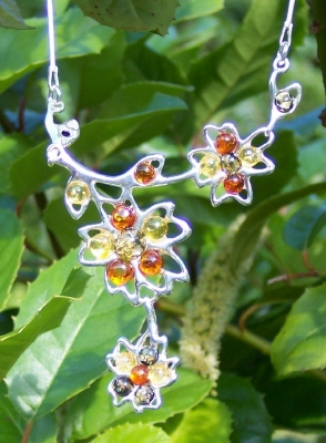 Amber Silver Necklace NE1043