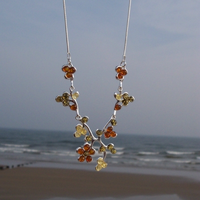 Amber Silver Necklace NE1050